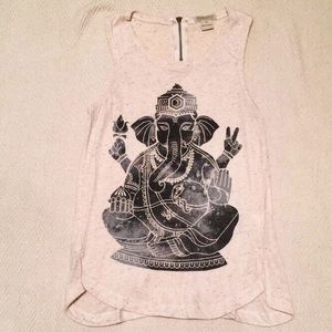 Lucky Brand Beige Ganesh Heather Tank